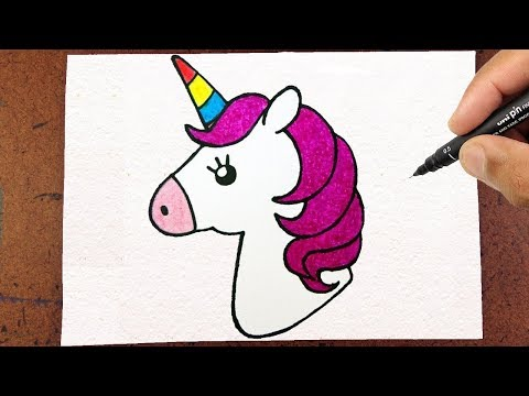 Colorindo E Desenhando Um Unicórnio Kawaii Lindo é