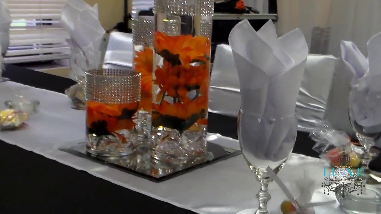 Beautiful Fall Orange Black And White Wedding Decor By LUXE Weddings Events
