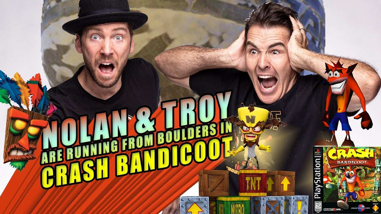 Nolan North and Troy Baker are Running from Boulders in Crash Bandicoot