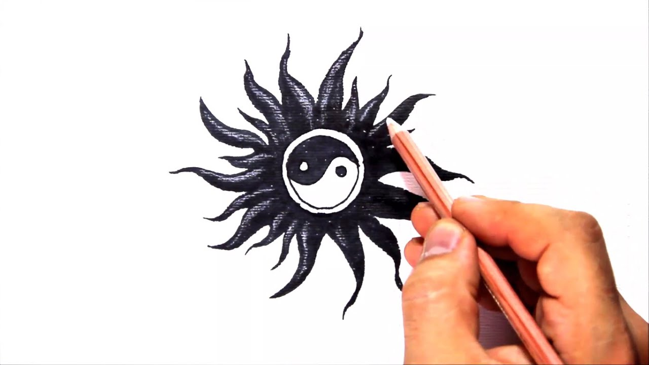 How to draw a yin yang tribal tattoo design style amazing youtube