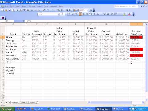 Microsoft Excel - Setting up Stocks Spreadsheet.