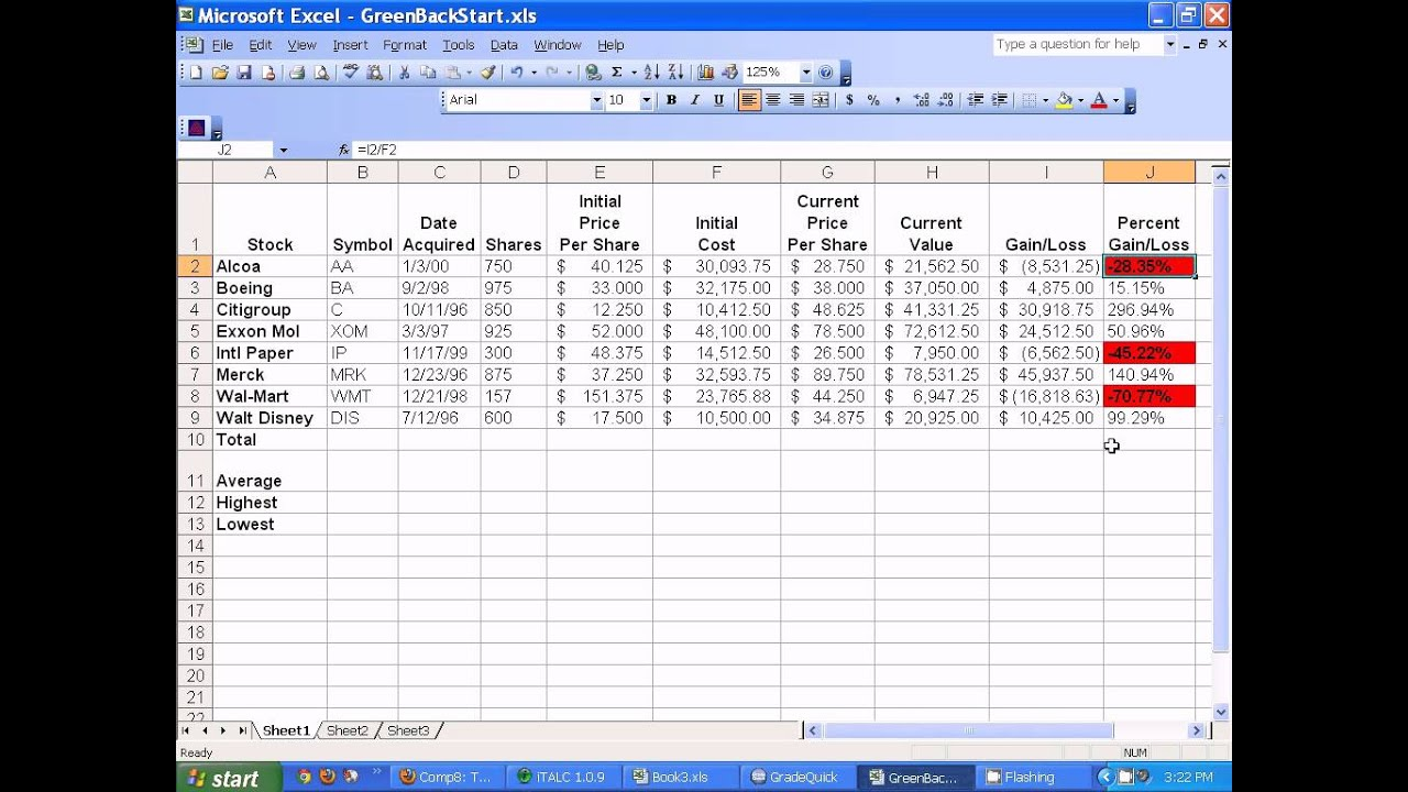 microsoft excel setting up stocks spreadsheet youtube