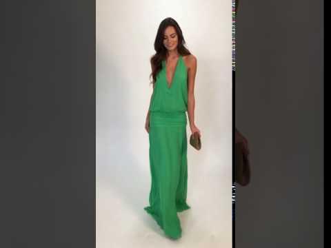 Vestido longo de seda verde