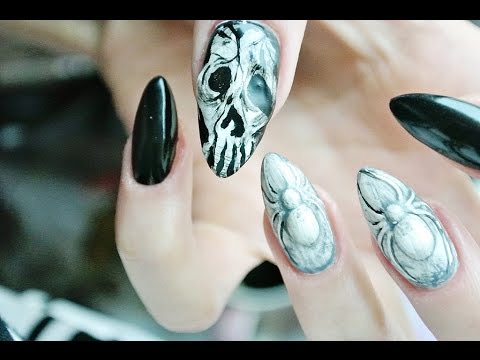 Halloween Nail Art Spider And Skull 3d Odette Swan Youtube
