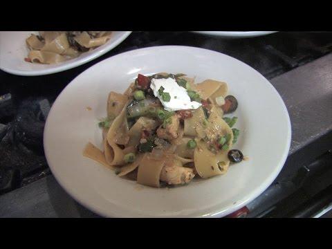 Greek chicken pappardelle pasta recipe