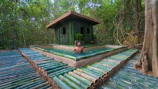 Survival Shelter Ideas: Build Mud Bamboo Villa Swimming Pool in Deep Jungle by Ancient Skills