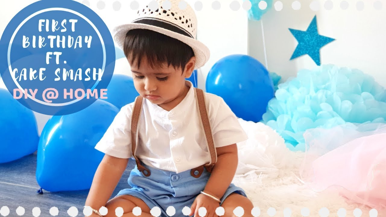 FIRST BIRTHDAY PHOTOSHOOT at Home | DIY Ideas for Baby Boy ...