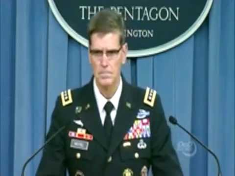 Army Gen Joseph Votel, commander of US Central Command, briefs reporters at the Pentagon