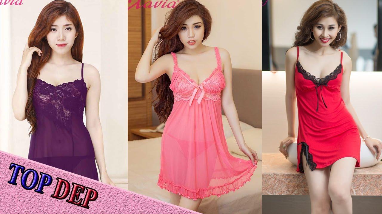 Top Mẫu đầm váy ngủ nữ đẹp dễ thương quyến rũ cho các nàng