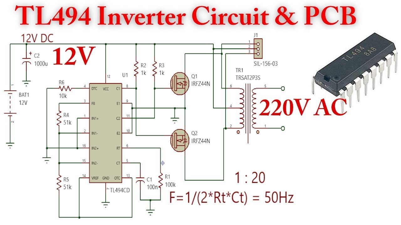 TL494 Inverter Circuit, 12V to 220V AC