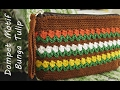 Crochet || Tutorial Dompet Rajut Motif Bunga Tulip - Flowers in Row Stitch