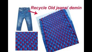 Old Jeans Recycle| Floor mat,area rug,Door Mat,Table Mat,Carpet from old waste Cloth