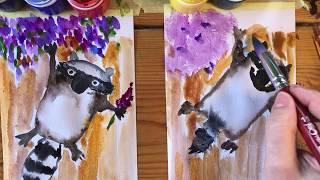 ЕНОТ. Как рисовать енота. Рисование с малышами. Рисуем с Илюшей.