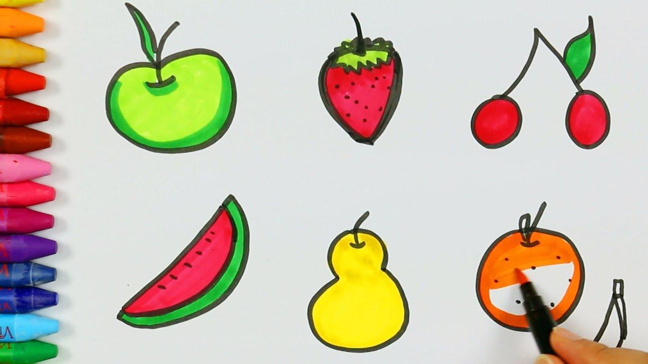 كيفية رسم الفواكه كيفية رسم ولون الاطفال التلفزيون Youtube
