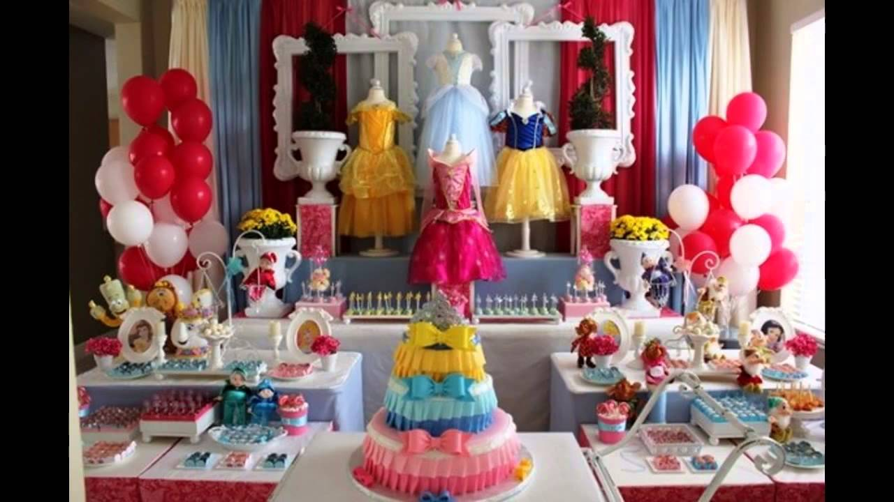 Cool disney princess themed party ideas youtube for Adult birthday decoration