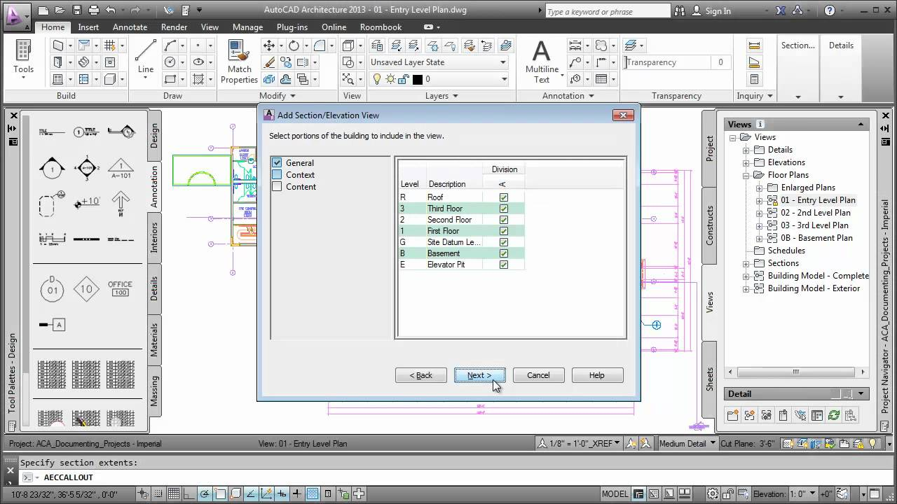 Creating sections autocad architecture 2013 youtube creating sections autocad architecture 2013 baditri Image collections
