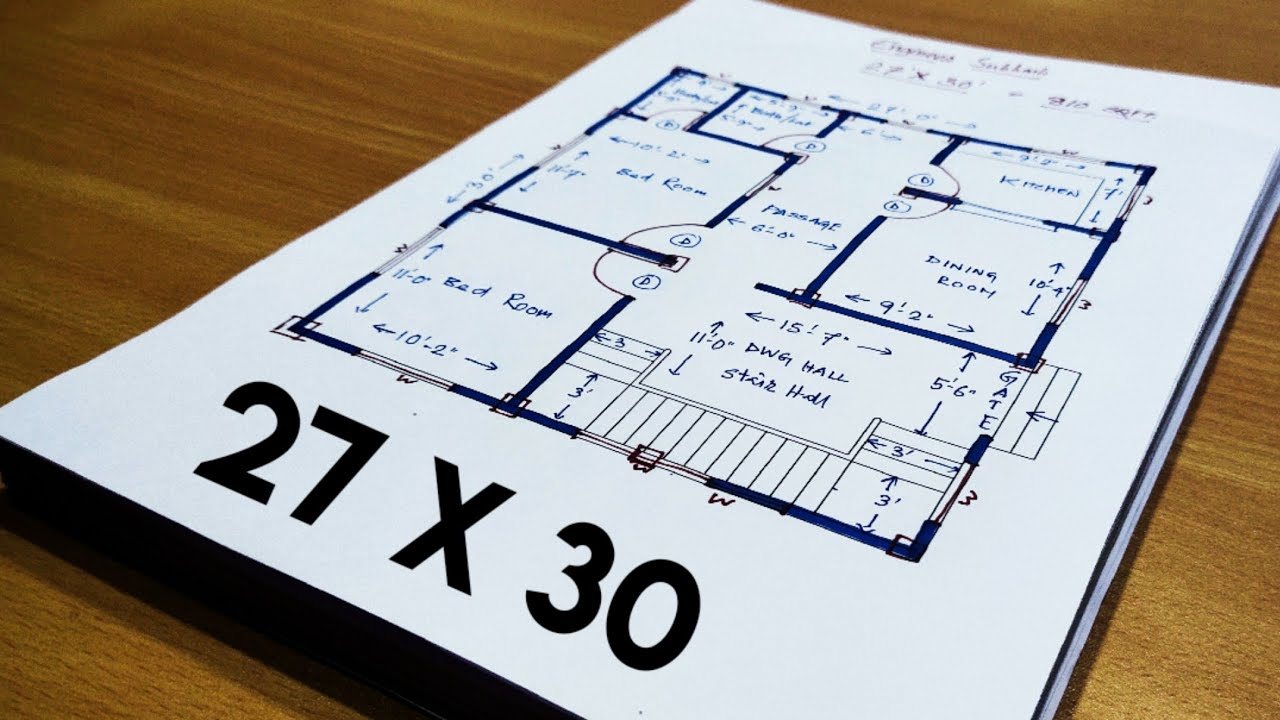 810 Sqft House Design Ii 27 X 30 House Plan Ii 27 X 30