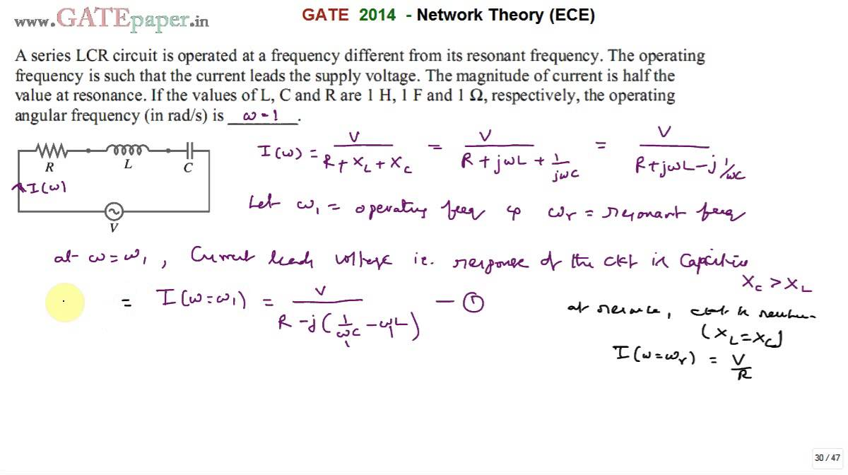 GATE 2014 ECE Operating frequency of series RLC circuit other than resonant  frequency