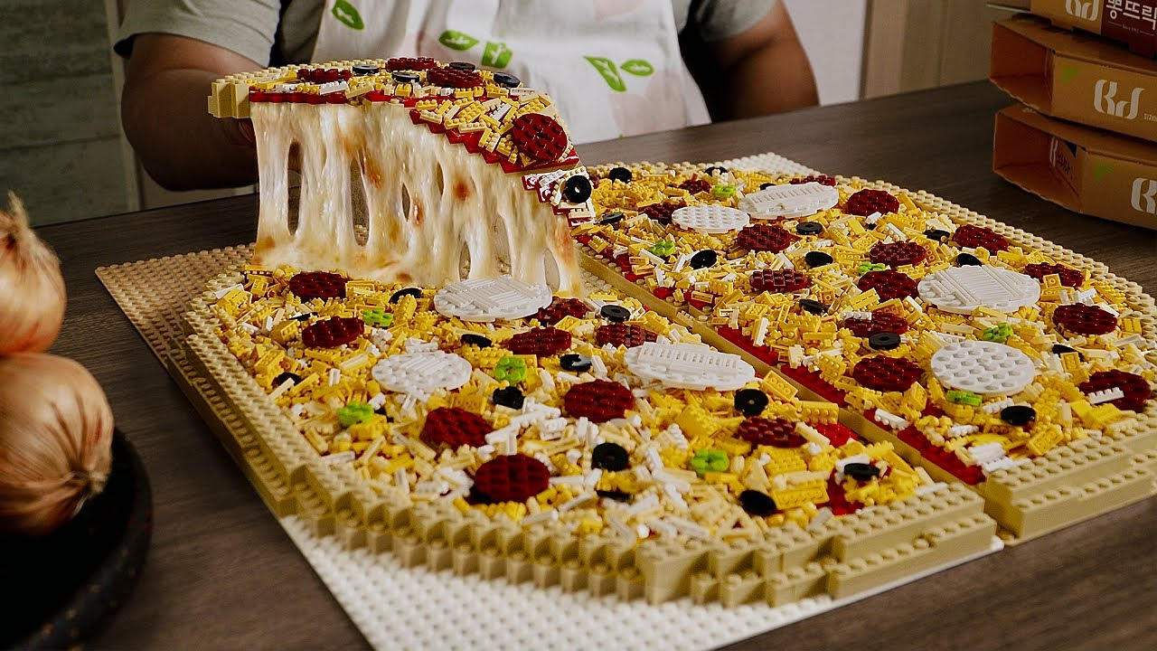 Download Lego Large Pizza ( Remake )  - Lego In Real Life 10 / Stop Motion Cooking & ASMR