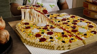 Lego Large Pizza ( Remake )  - Lego In Real Life 10 / Stop Motion Cooking & ASMR
