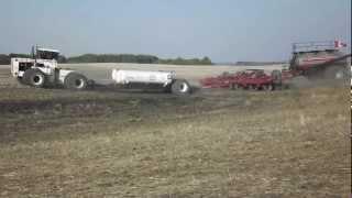 Big Bud 525/50 4wd tractor seeding with Amity drill in Saskatchewan.