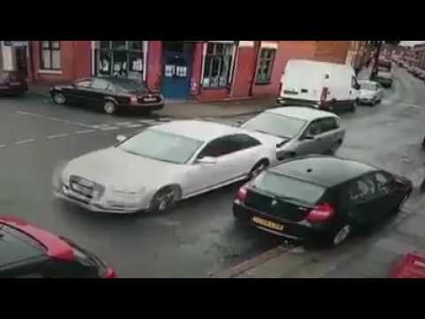 Only in Bradford - car crash - look at how many guys run out of Honda
