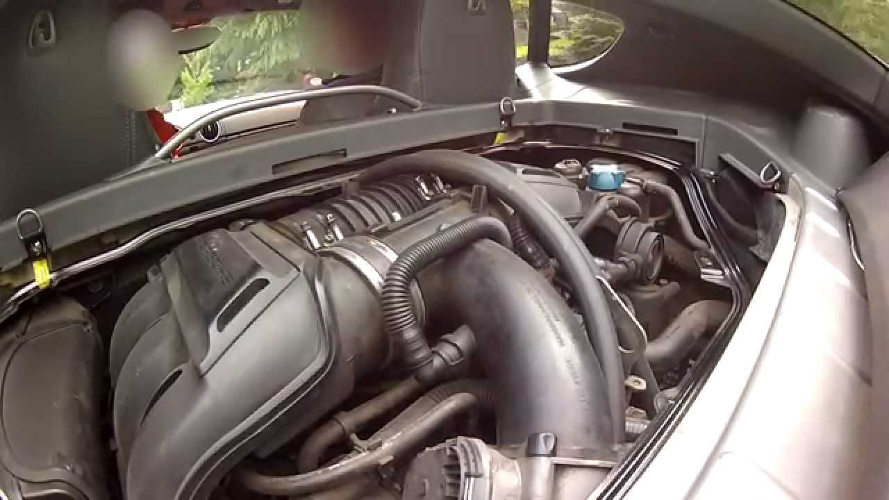 2007 porsche cayman s noise with no engine cover youtube