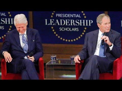 Bush, Clinton stress humility in presidency