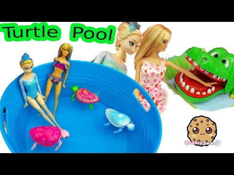 Thumbnail: Disney Frozen Queen Elsa & Barbie Doll Swim In Water Pool with Little Live Pets Sea Turtles