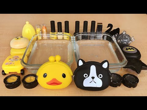 Yellow vs Black - Mixing Makeup Eyeshadow Into Slime! Special Series Part 16 Satisfying Slime Video thumbnail