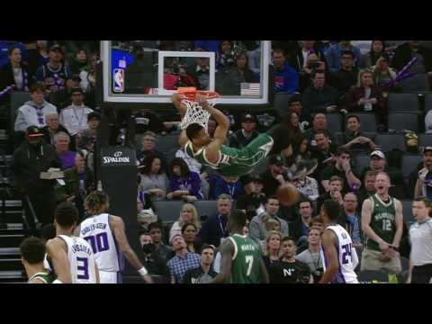 Antetokounmpo Brings The Energy With A Jam And A Block At The Rim | March 22, 2017