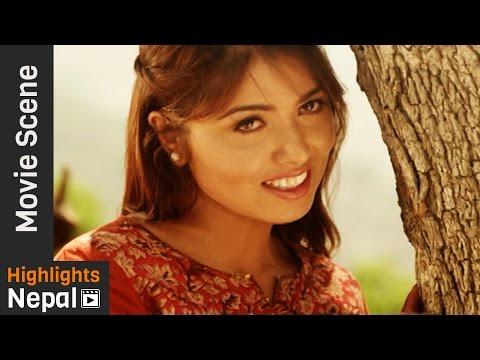 First Love Propose | Ajhai Pani Nepali Movie Clip | Puja Sharma, Alok Nembang, Sudarshan Thapa