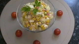 Вкусный и простой рецепт салата из крабовых палочек.
