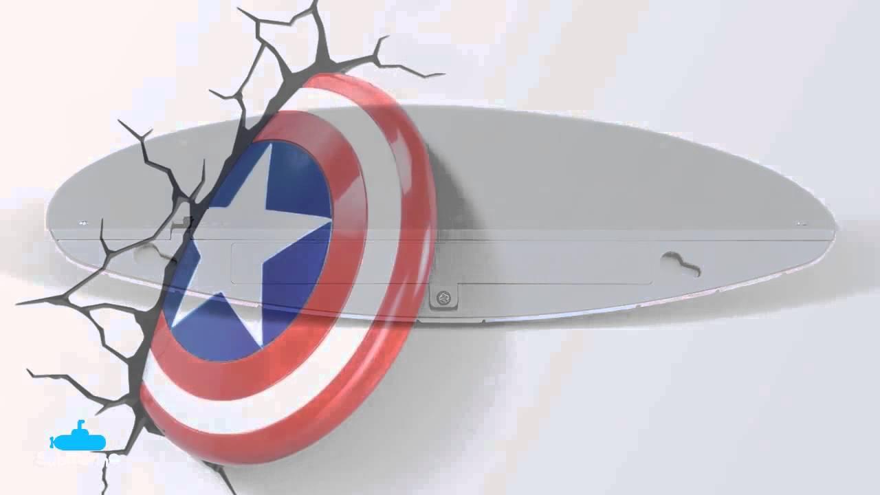 Papel De Parede Do Capitao America: Luminária De Parede Escudo Capitão América