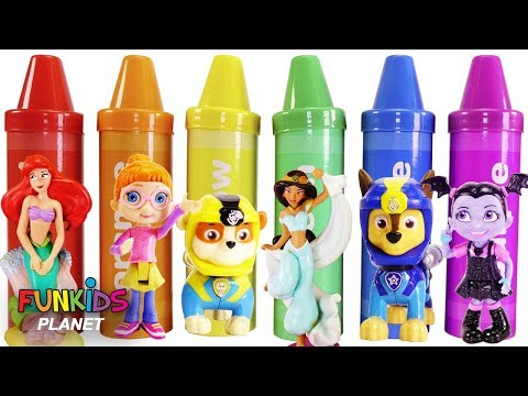 Best Learning Colors Video for Children with Crayons - Paw Patrol, Mickey Mouse & Belle