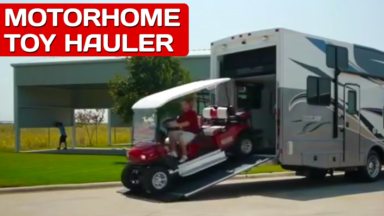 Motorhomes with garages best toy haulers outlaw rv for Toy hauler motor homes