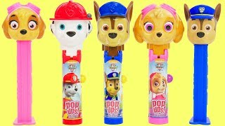 Best Learning Videos with Paw Patrol Lolli Pop Ups and Pez Candy Dispensers for Kids!