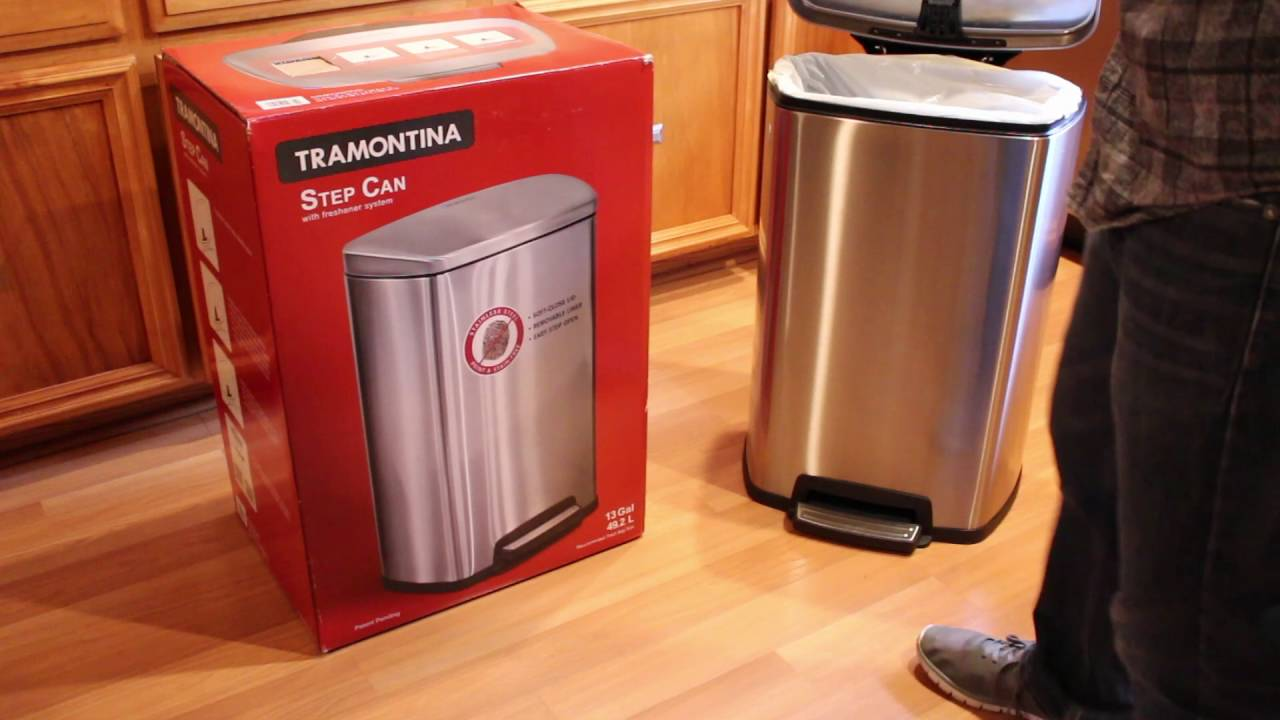 tramontina 13 gal step trash can stainless steel review