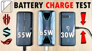 Asus ROG Phone 3 vs Black Shark 3 Pro vs RedMagic 5G Charging Speed Test