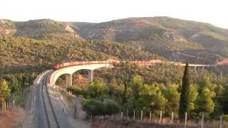 GREEK RAILWAYS FREIGHT TRAIN WITH 34 CONTAINERS