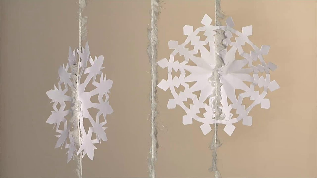 noel d co christmas decoration flocon de neige en papier diy youtube. Black Bedroom Furniture Sets. Home Design Ideas
