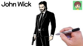 How to draw Fortnite John Wick Easy Walkthrough-Drawing to Draw