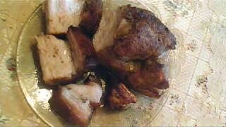 Сало с мясной прослойкой в фольге, запеченное в духовке