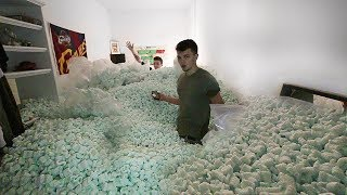 FILLED HIS ROOM W/100,000 PACKING PEANUTS!!