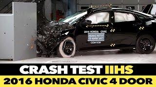 2016 Honda Civic 4 door IIHS CRASH TEST Small Overlap [GOOD]