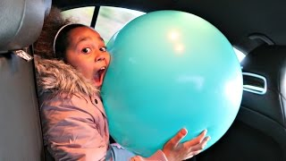Giant Balloon Toy Surprise Stuck In Our Car - Disney Fashems - Blind Bag Toy Opening