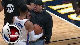 Russell Westbrook pushes away Denver Nuggets fan after fan gets in Westbrook's face | ESPN