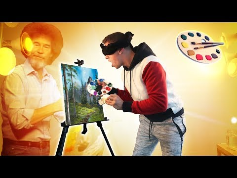 I FOLLOWED A BOB ROSS PAINTING TUTORIAL BLINDFOLDED!!!