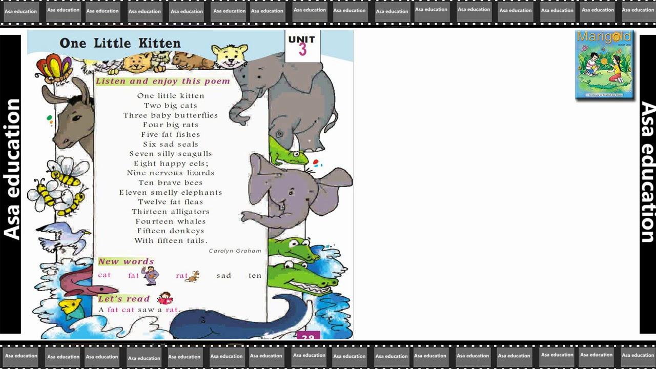 Poem 3 One Little Kitten (English - Marigold, Grade 1, CBSE) Poem in Easy  Hindi/English