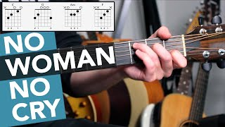 NO WOMAN NO CRY Guitar Lesson Tutorial (Bob Marley) 4 Chord Guitar Song for Beginners